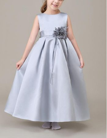 ee4d4bb7550 Find cute simple sleeveless ankle length pleated silver satin flower girl  dresses with hand-made flowers