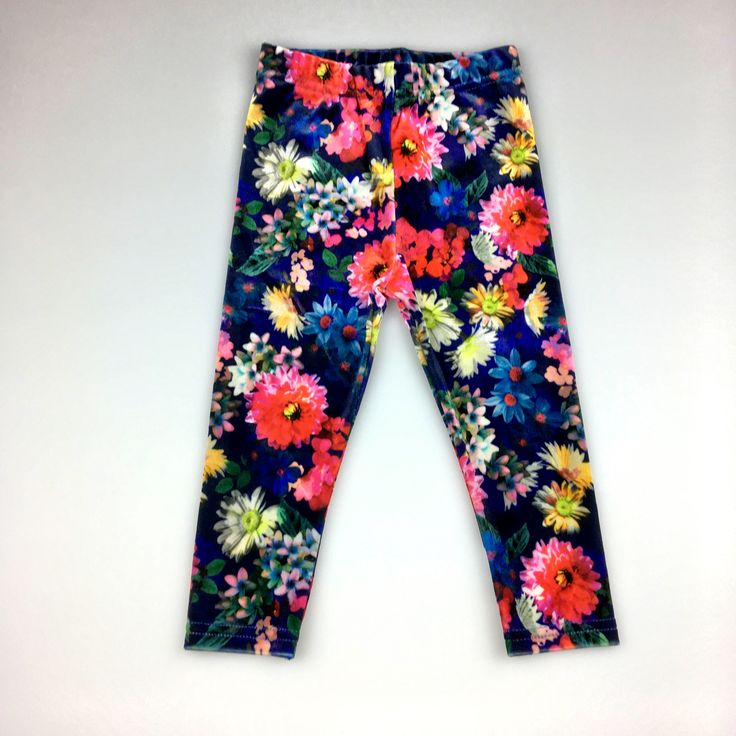 M&S Autograph, girl's floral print, velvet-feel leggings, excellent pre-loved condition (EUC), size 1, $6