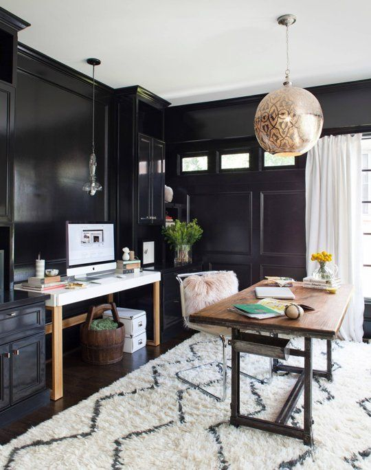 stylish office. dark u0026 dramatic rooms where white is the pop of color stylish office i