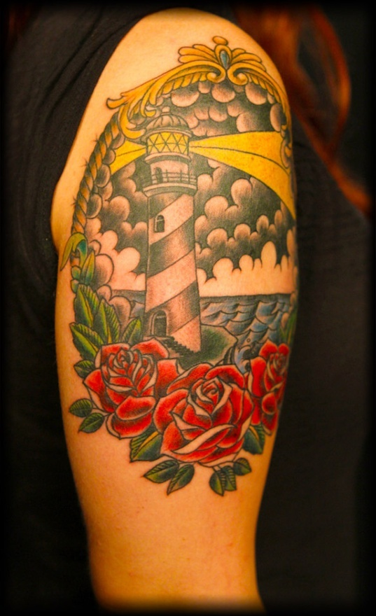 Lighthouse American Traditional Tattoo: 38 Best Anchor/lighthouse Tattoo Images On Pinterest