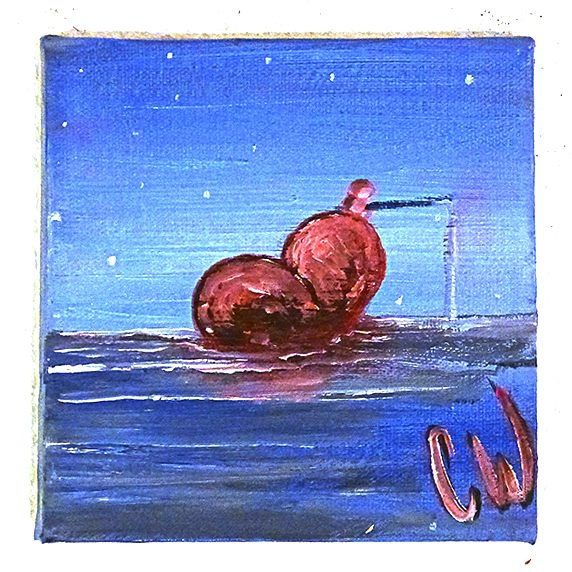 """Fishing for love"" 20x20 cm.  Christian Wichers #wichers #art"