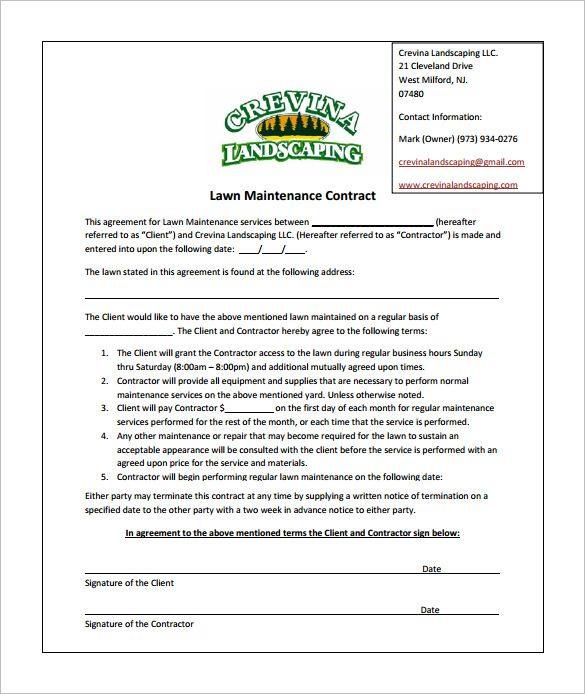 Lawn Care Contract Template Lawn Service Invoice