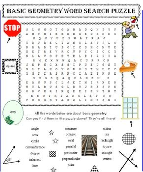 ELEMENTARY GEOMETRY WORD SEARCH PUZZLE (BASIC)   * 20 basic geometric terms students will eventually have to know. Give them a head start.   * These basic words all deal with geometry for younger students.    * They will enjoy searching for these 20 words – educational and challenging.   * Age-appropriate puzzle, not too big, not too small.   * Kids LOVE these word search puzzles and know how to use them. You do too!