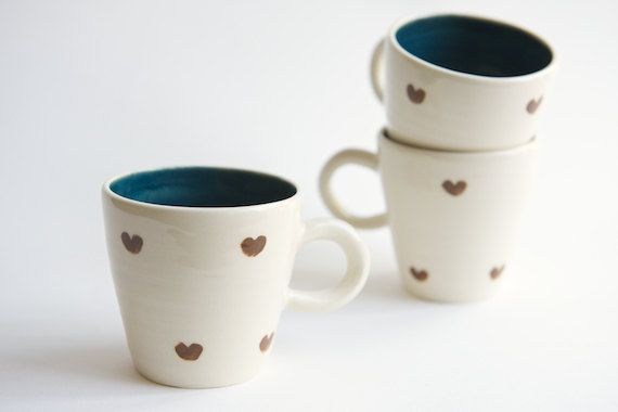 Brown and Teal Ceramic Cup heart design by RossLab di RossLab, $25.00