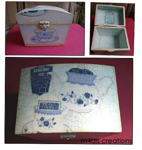 Decoupage keepsake box with lovely tea time theme - love the line drawing effect... ~ by Muria Munoz