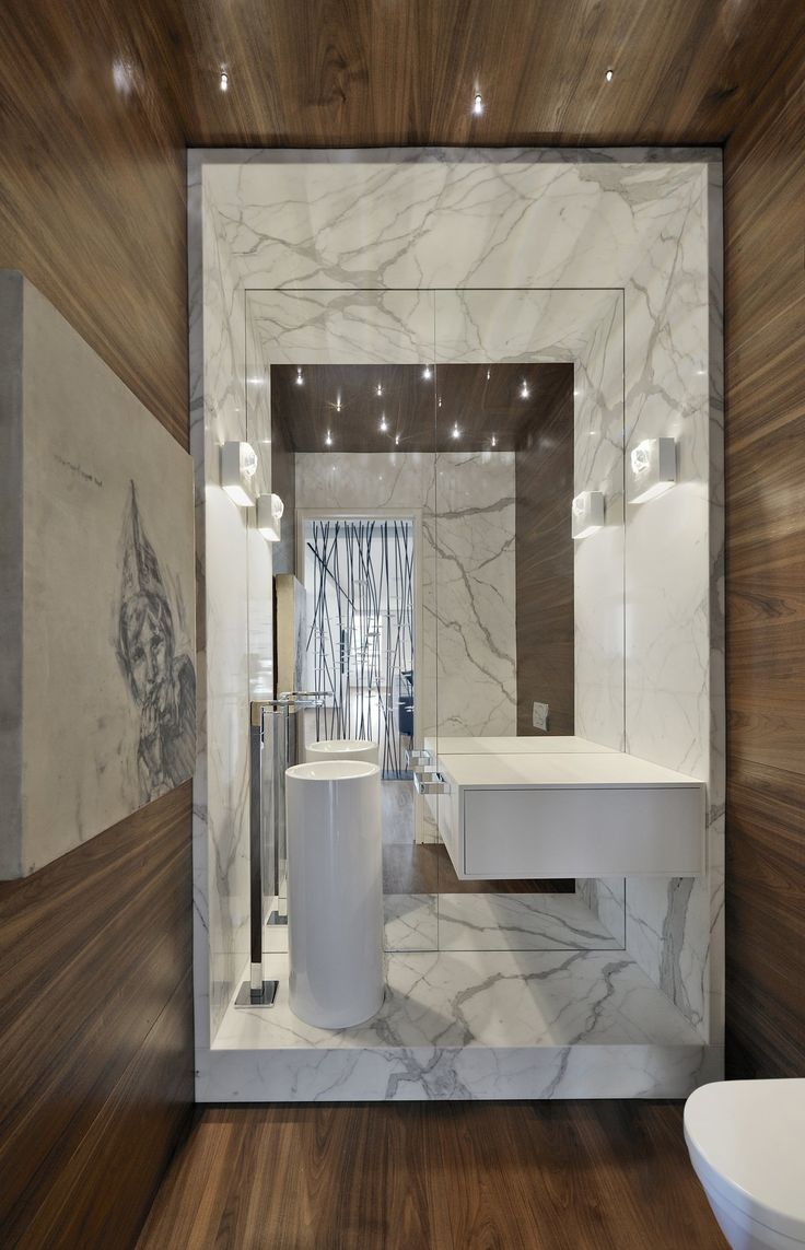 Image On Large Mirror Modern Sink Bathroom Yorkville Penthouse II in Toronto Canada by Cecconi Simone