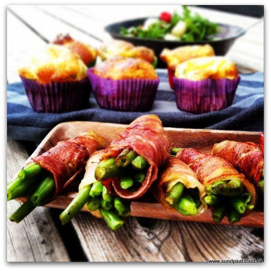 Mini frittatas med bønner i serrano skinke
