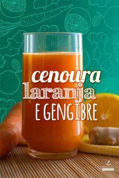2 xícaras (de chá) de suco de laranja natural 1 xícaras (de chá) de cenoura picadinha ou ralada 1/2 xícara (de chá) de água gelada 1 colher (de sopa) de gengibre ralado e liquidificador !