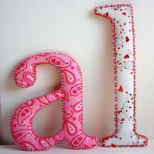 Fabric Covered Beaded Letter - little extras for babies. different letter styles/designers