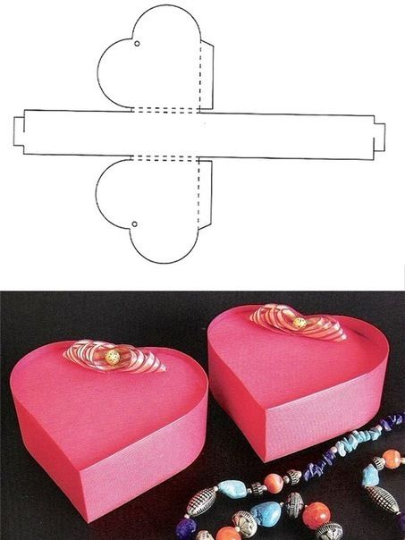 Heart gift box template