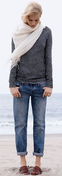 comfy but could do w/o those yucky shoes!: At The Beaches,  Blue Jeans, Style,  Denim, Beaches Outfits, Grey Sweaters, Boyfriends Jeans, Casual Looks, Sweaters Scarfs