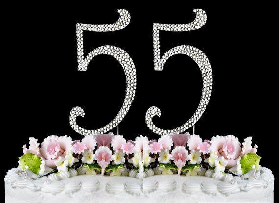New Large Rhinestone Number 55 Cake Topper 55th Birthday