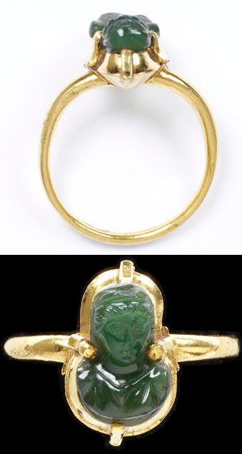 Gold ring, the four claw bezel is set with a green chalcedony bust, Western Europe, 1200-1300.