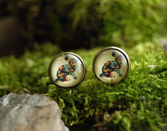 Rabbits stud earrings 12 mm Glass dome earrings by InviolaJewerly