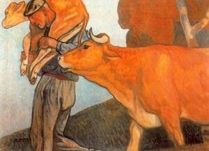 Aurelio Arteta - Baserritarra con vaca y ternera