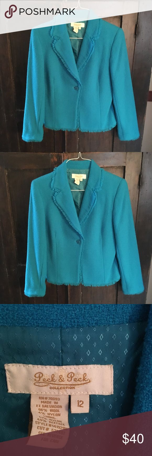 Turquoise Blazer with Fringe by Peck&Peck Size 12 Turquoise Blazer with Fringe by Peck&Peck Size 12 Beautiful! Peck & Peck Jackets & Coats Blazers