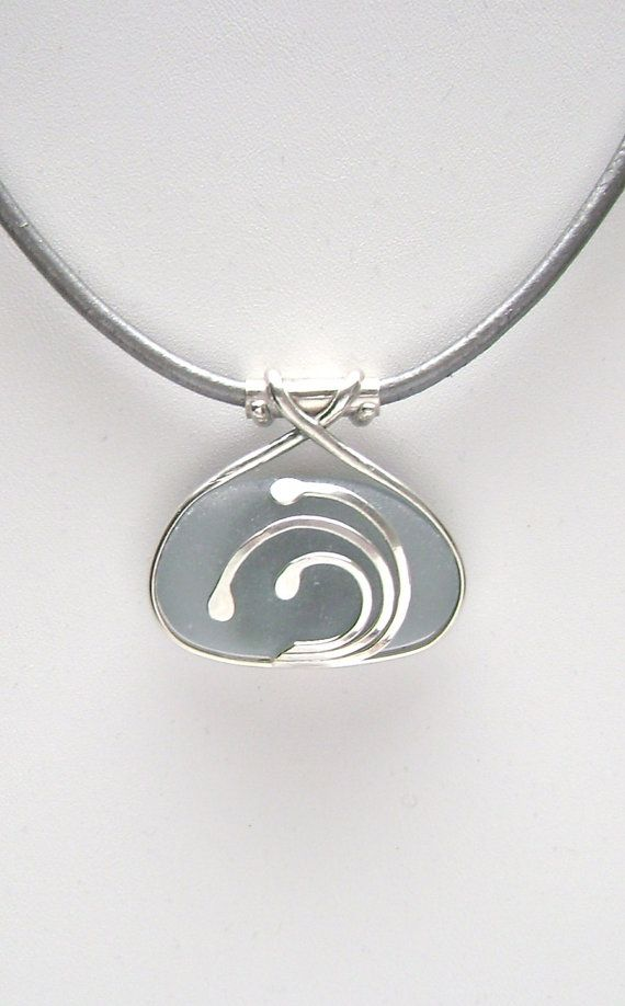 Sea Glass Jewelry  Sterling Caged Large Blue Gray by SignetureLine, $80.00