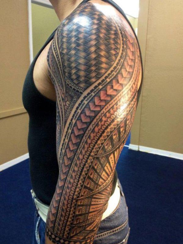 Samoan inspired tribal sleeve tattoo  - 70+ Awesome Tribal Tattoo Designs