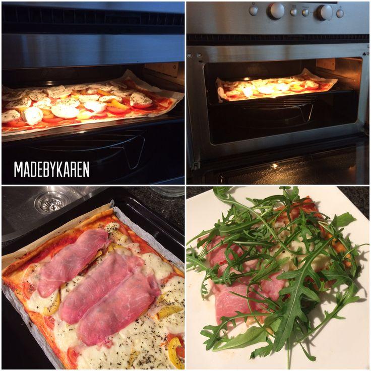 Pizza 12 smartpoints WW. Rauwe ham, pizzabodem, tomaat, paprika, mozzarella en rucolasla. Oven.