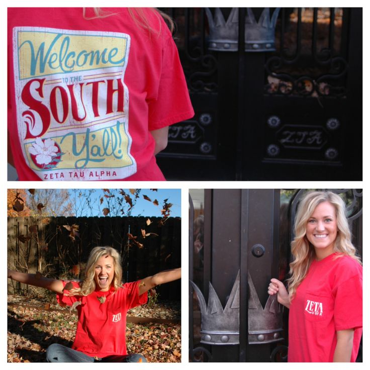 """Zeta Tau Alpha """"Welcome to the South, Y'all!""""  Repin this photo!   Like this photo on our instagram, @houndstooth_press.  Like & share this photo our Facebook page, The Houndstooth Press.  Favorite & retweet this photo on our twitter, @houndstooth_ar.  Every like, share, repin, favorite, & retweet counts as a vote! The chapter with the most combined votes on Friday, November 22 at midnight will win $1000 for their philanthropy & will receive this shirt for free for every member of their…"""