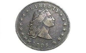 1st:Flowing hair dollar   Sold for $10m    The first dollar coin issued by the United States federal government. The coin    was minted in 1794 and 1795; its size and weight were based on the Spanish    dollar, which was popular in trade throughout the Americas. One of the coins    was sold in May 2005 for $7.85m(Top 10 most valuable coins in the world)