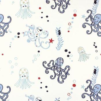 Bestickter Stoff \'Octopus\' blau/rot/beige maritim