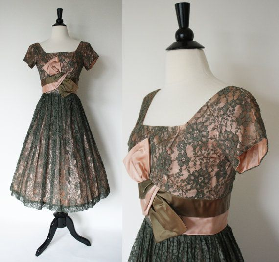 50s Dress / 1950s Lace Dress / Olive and Peach by SundayInSavannah, $88.00