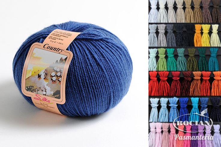 Włóczka Country 100% wełna 50g/200m - różne kolory - Pasmanteria BOCIAN - sklep z włóczkami, tkaninami, wełną, filcem. Dzianiny, wełna, włóczki, filc