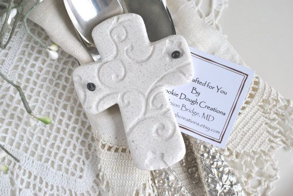 Personalized or Plain Cross Baptism Favors Salt Dough Ornaments Communion Cross Baptism Gift Baby Gifts Dedication Set of 6