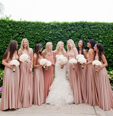 i quite like the blush flowers for me and white for bridesmaids