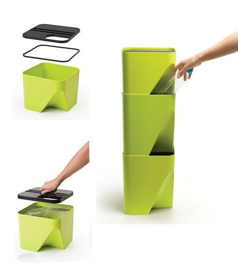 Vibrant Stackable Bins make trash collecting and recycling fun and easy while saving space!