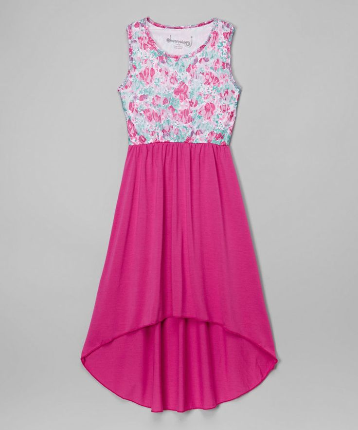 Girl's Hi-Low Maxi Dress - Size XL (16) NWT Dreamstar Deep Pink Floral #Dreamstar #Everyday