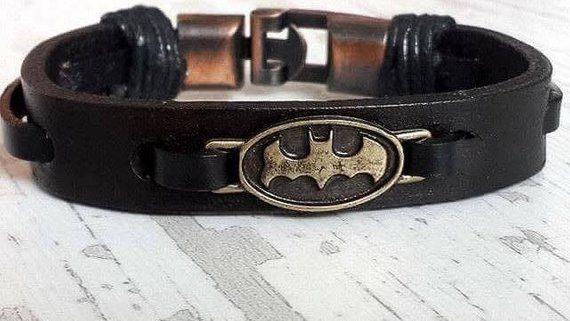 Christmas Gift 2019 Batman Leather Bracelet,Christmas Gift Ideas , Boyfriend, Husband Gift Idea , Fathers Day Gift, Handmade Gift Idea