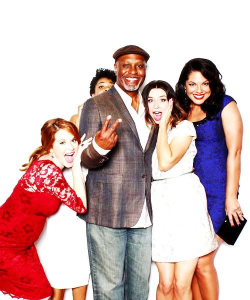 Sarah Drew (April Kepner), Kelly McCreary (Maggie Pierce), James Pickens Jr (Richard Webber), Sarah Drew (April Kepner) & Sara Ramirez (Callie Torres) at the ABC Twitter party. Grey's Anatomy.
