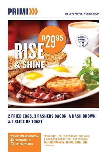 Spoil yourself with a delicious breakfast from Monday to Friday at Primi Piatti George - Caledon Square. Worth every cent! #breakfast #primi