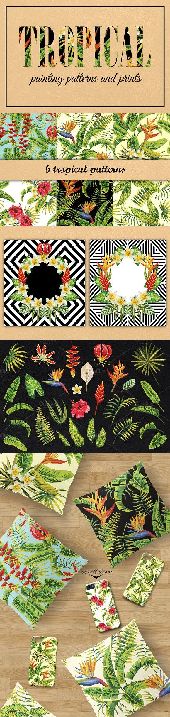 tropical painting patterns and print. Patterns