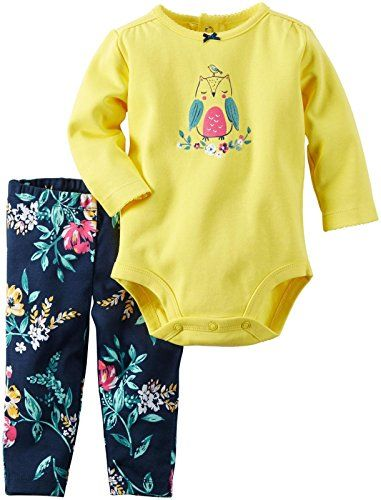 Carter's Baby Girls Bodysuit Pant Sets, Floral, 6 Months