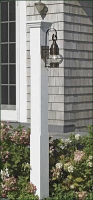 """Norfolk Lantern Post - The 5 1/2"""" sq. post with 1/2"""" eased edges and Westport cap make the Norfolk a knockout. 74"""" H. Pre-finished white in cellular vinyl. Pictured with a Vidalia side mount lantern."""