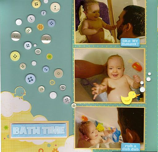 Looking for something to do with all those bathtime pictures?  Here are a few baby scrapbook layouts and ideas with a bath theme.