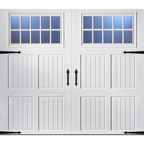 Zoomed: ReliaBilt 8-ft x 7-ft Carriage House Insulated Single Garage Door with Windows
