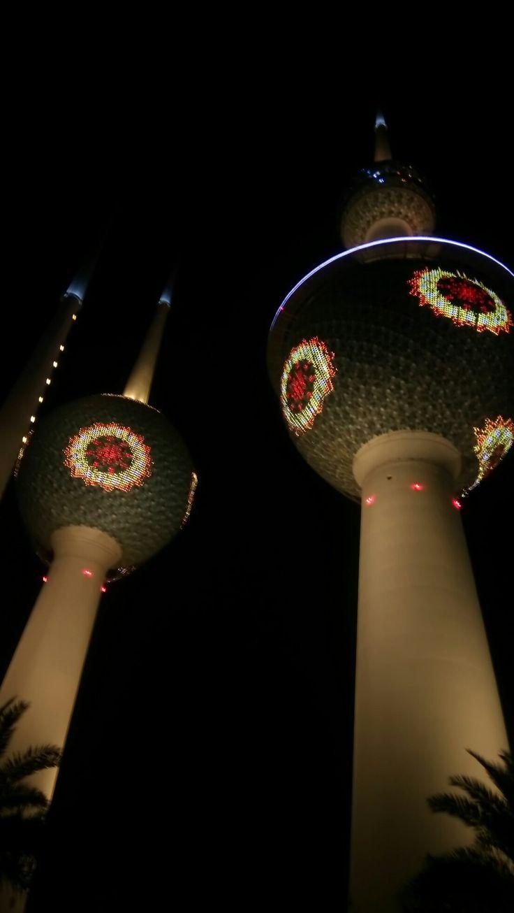 Torres de Kuwait por la noche