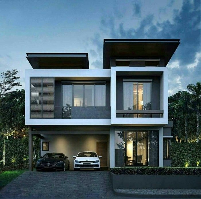 21 Impressive Modern Two Storey Exterior Renders For Inspiration House And Decors House Architecture Design House Front Design Double Storey House Plans