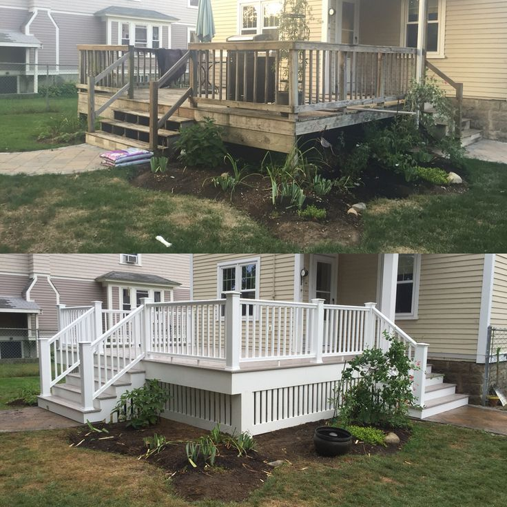 Before And After Replace Your Pressure Treated Deck With Maintenance Free Azec Deck Remodel Deck Makeover Deck Paint