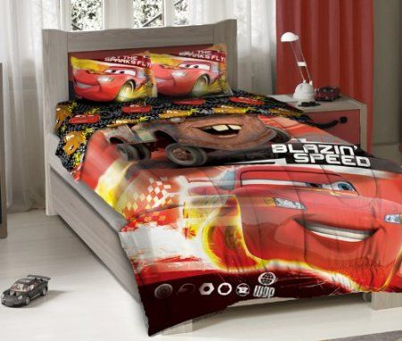 Disney Pixar Cars Blazing Speeding Duo Bedding Comforter Set With Fitted Sheet Twin Size 12