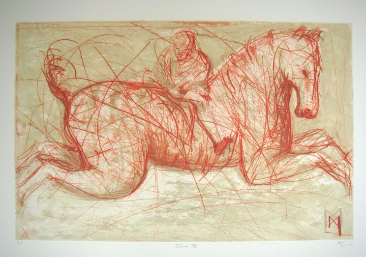 'Fury II' (2008) by South African artist Deborah Bell (b.1957). Drypoint, edition of 40, 54.8 x 39.5 cm. via David Krut Projects