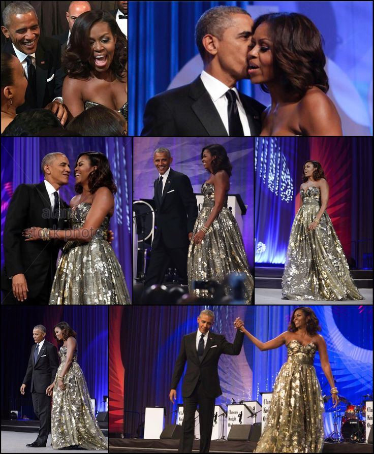 #44th #President #POTUS Of The United States  Of America Commander In Chief #BarackObama #FirstLady #FLOTUS Of The United States  Of America #MichelleObama  She looked stunning in a strapless Neem Khan gown that featured a full skirt, sweetheart neckline and hand-painted gold leaf on black tulle to the Congressional Black Caucus Phoenix Awards Dinner on Saturday September 18, 2016 night in Washington