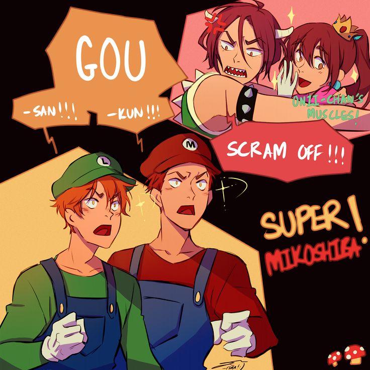 Free! ES / Super Mario Brothers ~~ Super! Mikoshiba :: Rin, Gou, Seijurou, and Momotarou
