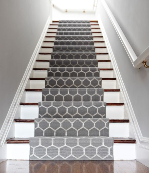 Geometric runners are an easy way to spice up stairs and long hallways. #interiordesign #textiles