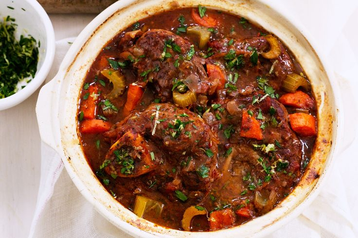 You will need a slow cooker for this classic, hearty veal dish.  Made it with 3 Osso bucco cuts but there wasn't enough meat. Needed 4 as they shrink a lot. Yummy sauce.