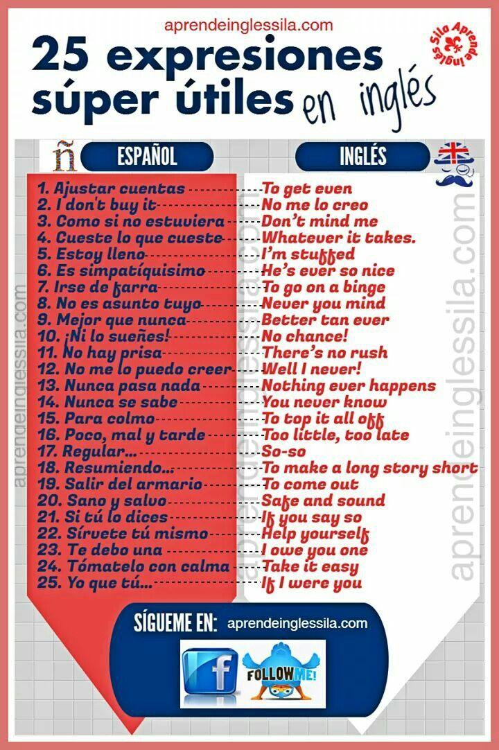 25 expresiones super útiles #español #inglés #English #Spanish #vocabulary